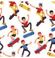 boy skater seamless pattern teenagers vector image