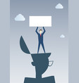 business man standing on big businessman head vector image vector image