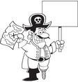 Cartoon pirate holding a map and a sign vector image vector image