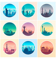 collection of famous city capes vector image vector image