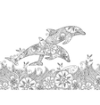 Coloring page with pair of jumping dolphins in the vector image