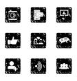 Communication via internet icons set grunge style vector image vector image