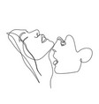 continuous one line beautiful woman and man kisses vector image vector image