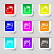 Credit card icon sign Set of multicolored modern vector image