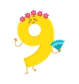 Cute and funny colorful 9 number characters vector image vector image