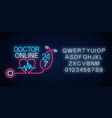 doctor online glowing neon logo with alphabet vector image vector image
