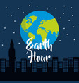 earth hour world globe silhouette of city at night vector image