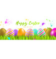 easter greeting multicolored eggs vector image
