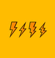 electric lightning set icons on a orange vector image vector image