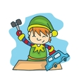 Elf with toy cartoon Christmas stock vector image
