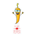 Funny cartoon orange pepper character vector image