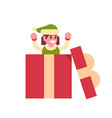 girl elf santa claus helper in gift box present vector image vector image