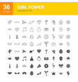 girl power line web glyph icons vector image vector image