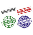 grunge textured indian cuisine stamp seals vector image