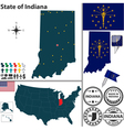 Map of Indiana vector image vector image