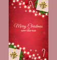 merry christmas background with luminous garlands vector image vector image