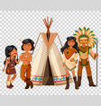 native american family and teepee vector image