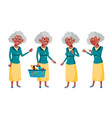 old woman poses set elderly people black vector image vector image