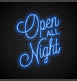 open all night neon sign banner lettering vector image