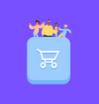 people group on shopping cart icon creative team vector image