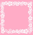 pink background with frame of white flowers and vector image vector image