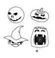 Pumpkins and ghosts for Halloween vector image