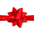 red satin ribbon and bow top view decoration vector image
