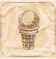 retro delicious ice cream cone hand drawn vector image