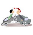 road accident and love couples vector image vector image