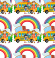 Seamless children standing by the schoolbus vector image vector image