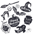 set halloween lettering on silhouette symbols vector image