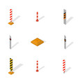 set of protective barriers and road columns in 3d vector image vector image