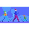 Ski with Family Concept in Flat Design vector image vector image