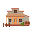 wild west wooden house building architectural vector image