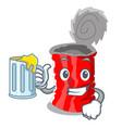 with juice set of metallic tin can cartoon vector image