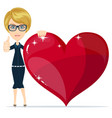 woman with the heart vector image vector image