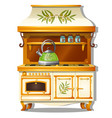 wooden kitchen set with a gas stove and a shelf vector image