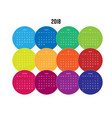 year 2018 calendar with months in colorful circle vector image