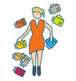 young woman managing many incoming emails vector image