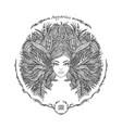 zodiac sign portrait a woman aquarius vector image vector image