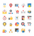 seo and marketing flat icons vector image