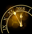 2018 new year shining banner with clock vector image vector image