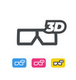 3d movie glasses line icon flat design vector image vector image