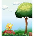 A happy monster above the rock near the mushrooms vector image vector image