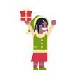 african american girl elf santa claus helper vector image