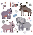 african cartoon animals vector image vector image