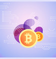 bitcoin symbol on bubble shapes vector image