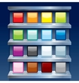 Blank Colorful Apps Icons on Metal Shelfs vector image vector image