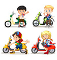 Boys and girls riding scooters vector image vector image