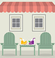 Chairs Set With Fruit Juice Under Awning And vector image vector image
